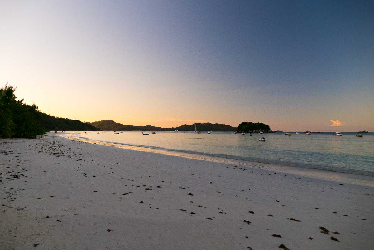 Cote d'Or at sunset, Seychelles weather in July
