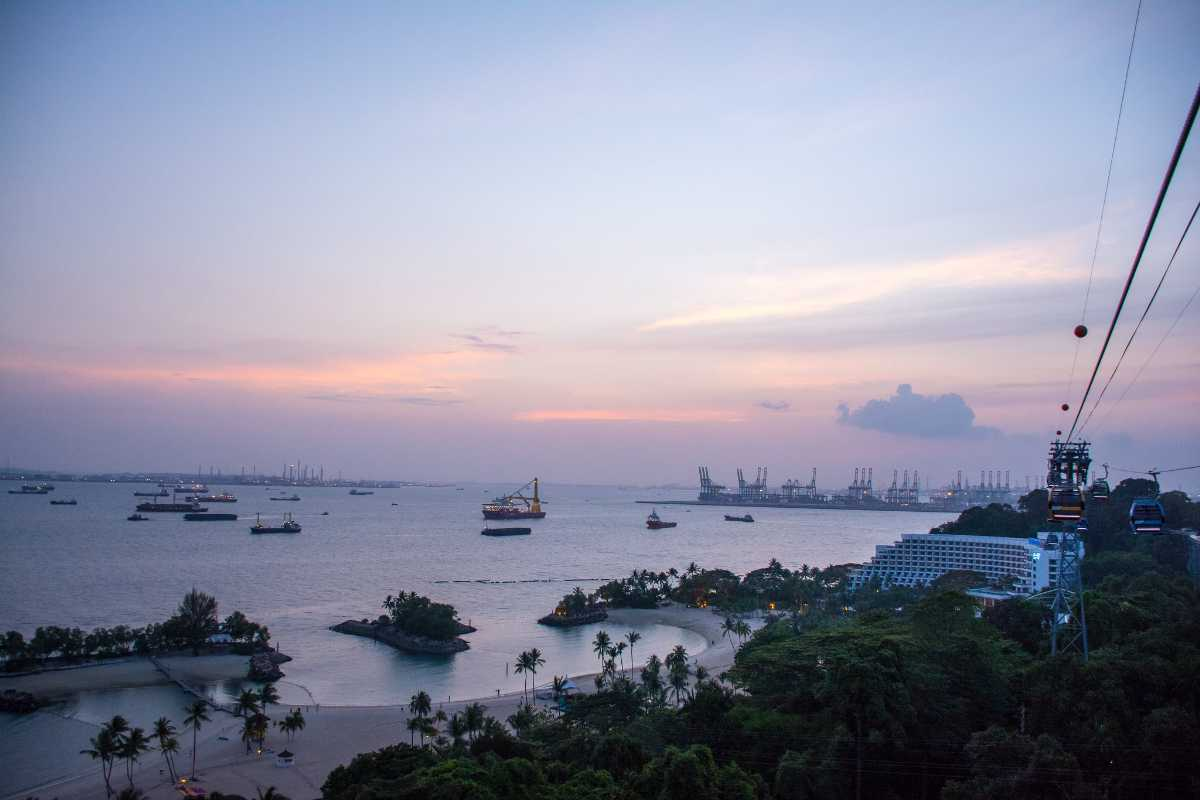 Sunset view of Sentosa Island from Singapore Cable Car