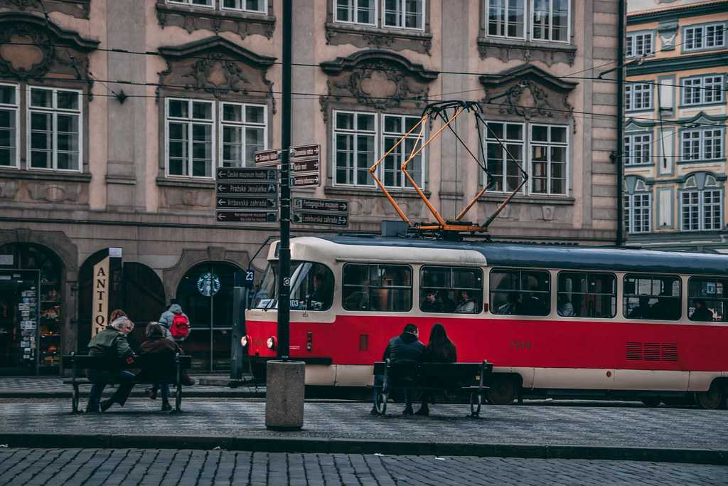 Trams in the Lesser Town Prague