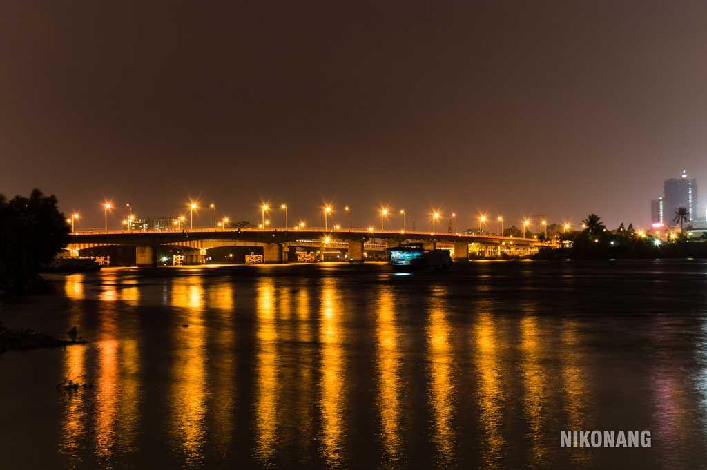 Binh Trieu Bridge at Night Over the Saigon River
