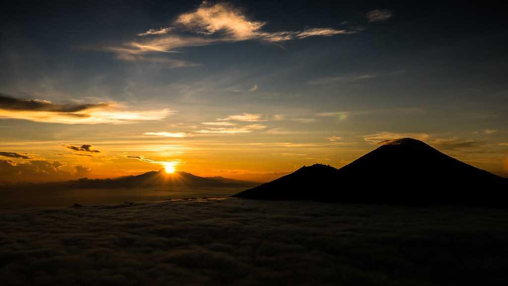sunrise, mount batur, sunrise in bali