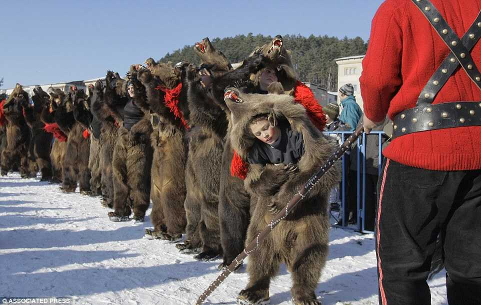 Dancing Dressed Up As Bears In Romania