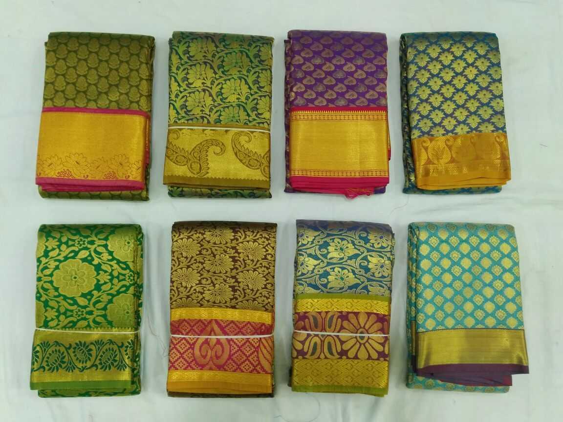 Traditional pattu sarees on display