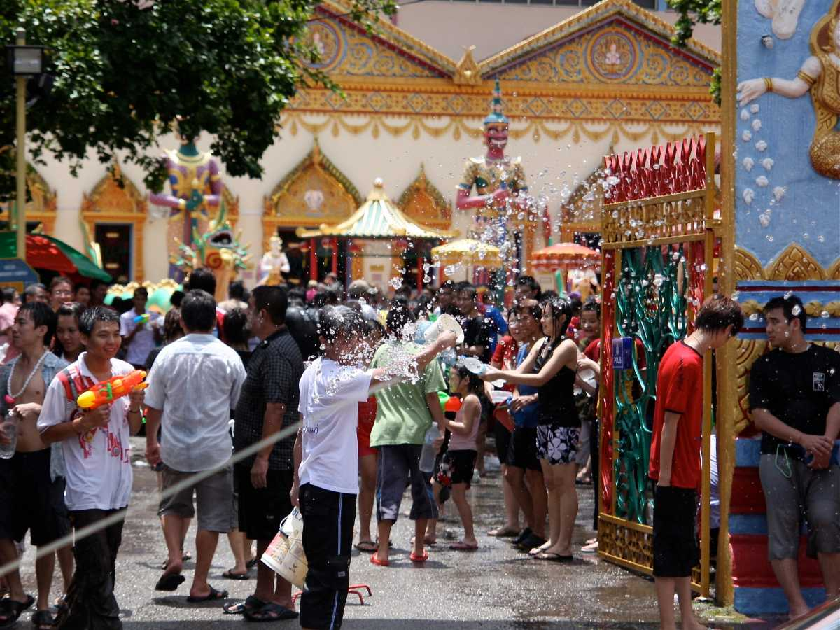 Songkran Festival at the Buddhist Temple in Penang