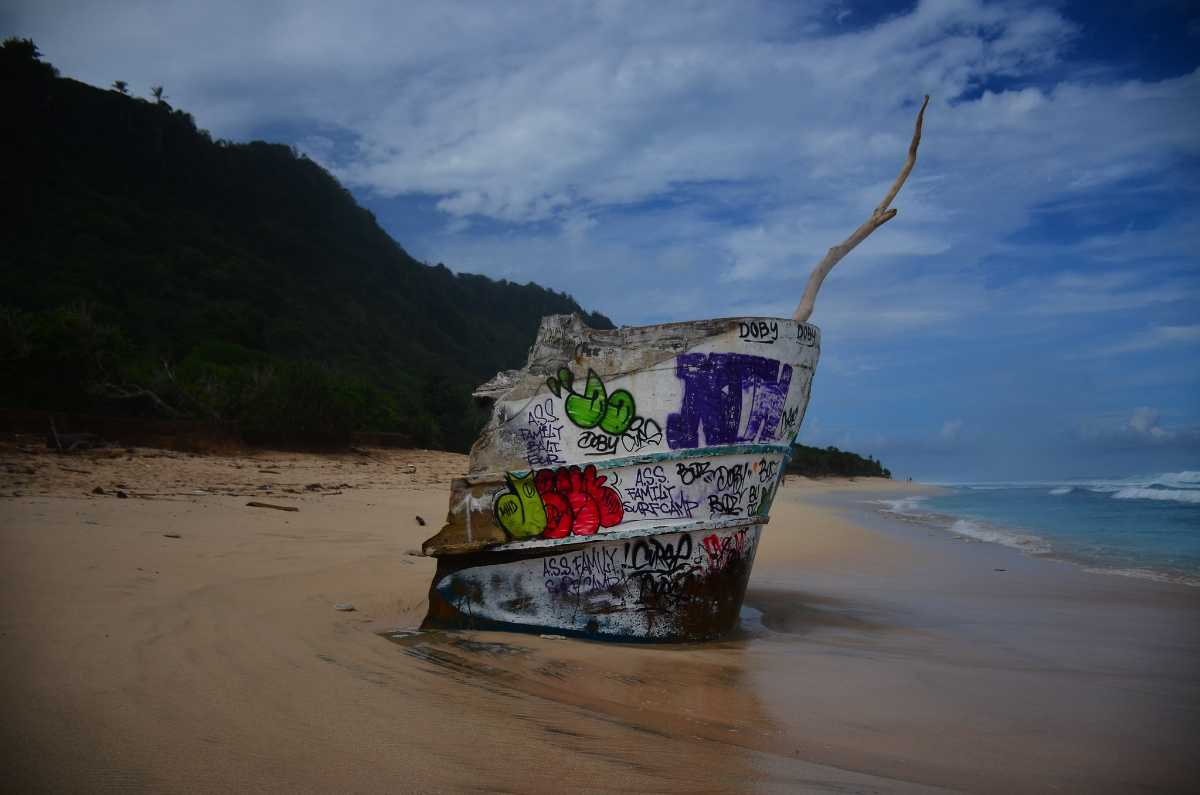 A shipwreck at Nyang Nyang Beach
