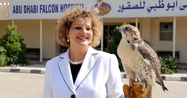 Photograph with the falcons at Abu Dhabi Falcon Hospital