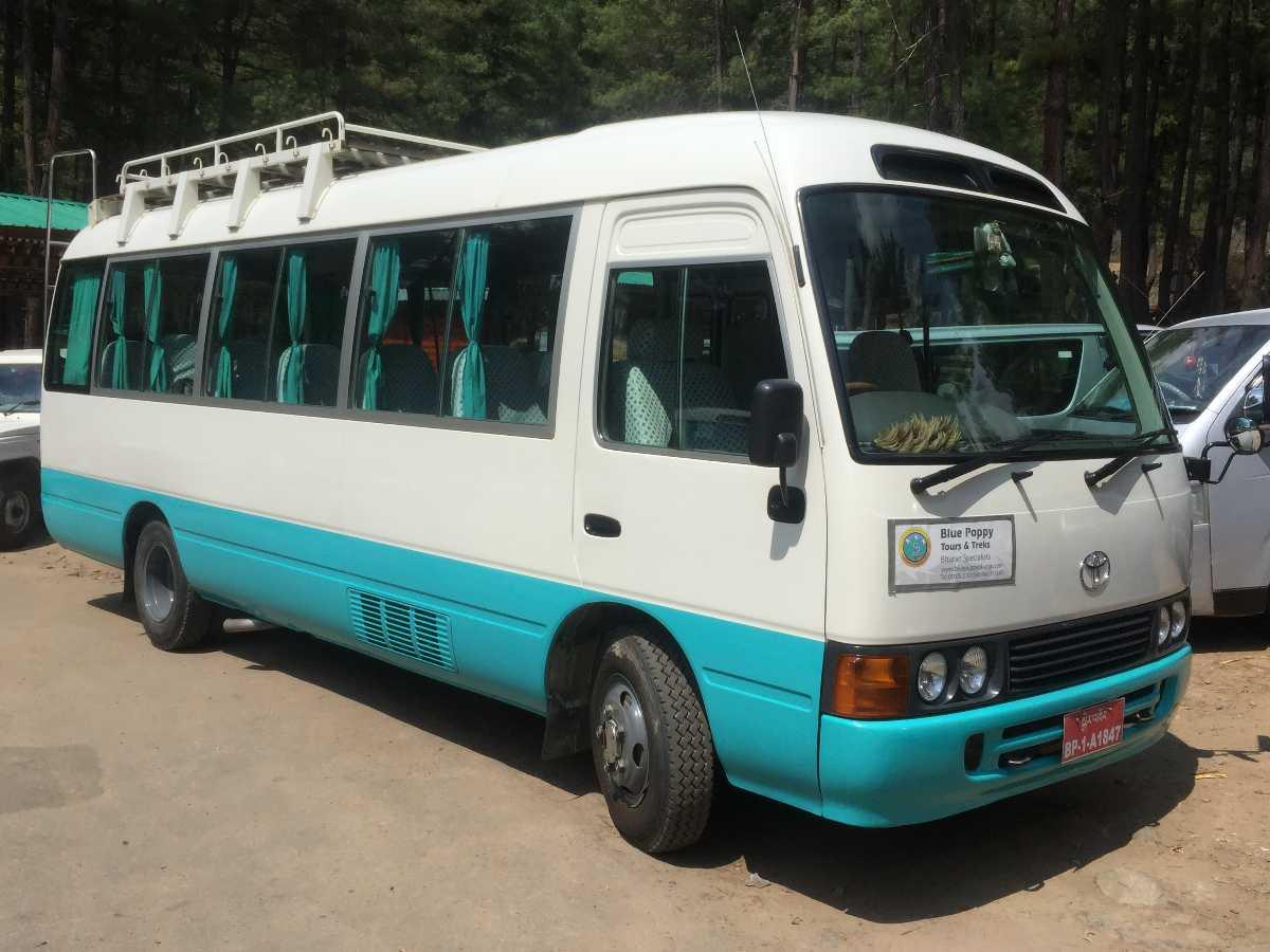 A coaster Bus in Bhutan, Bus service in bhutan