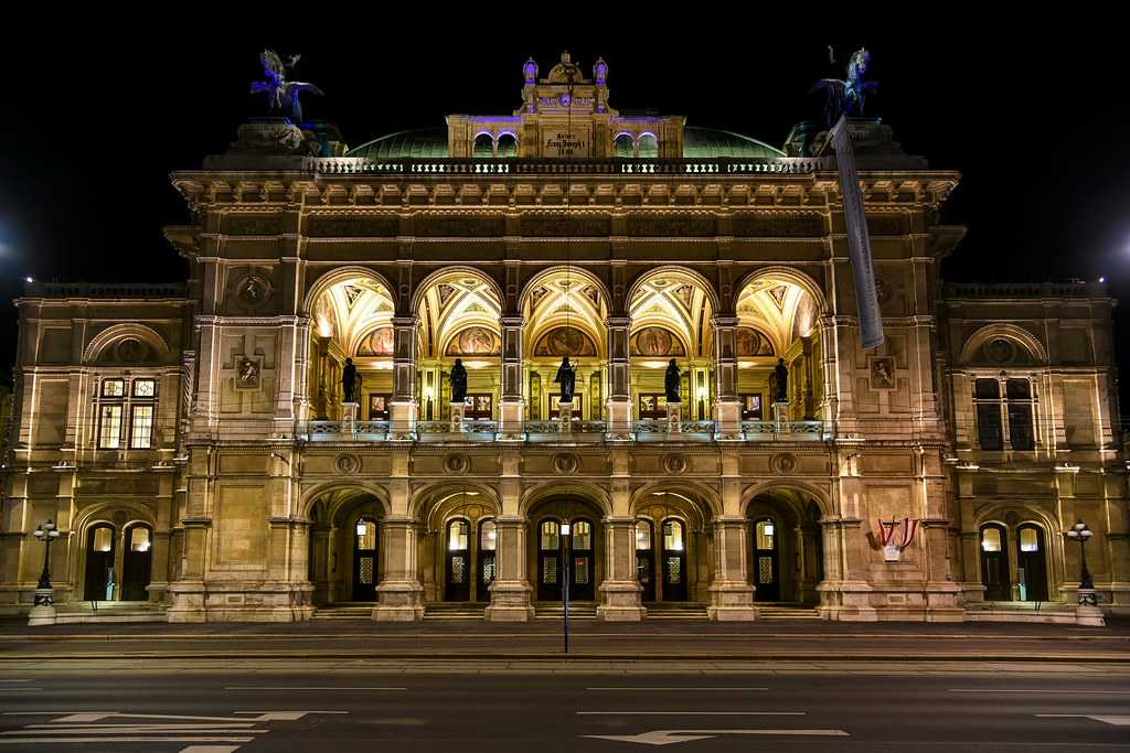 Front View of the Vienna State Opera at Night, Vienna