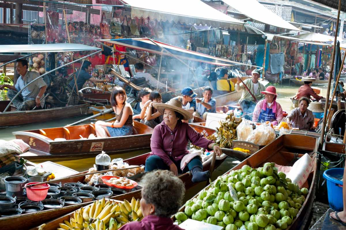 A Busy Day in Floating Markets of Bangkok