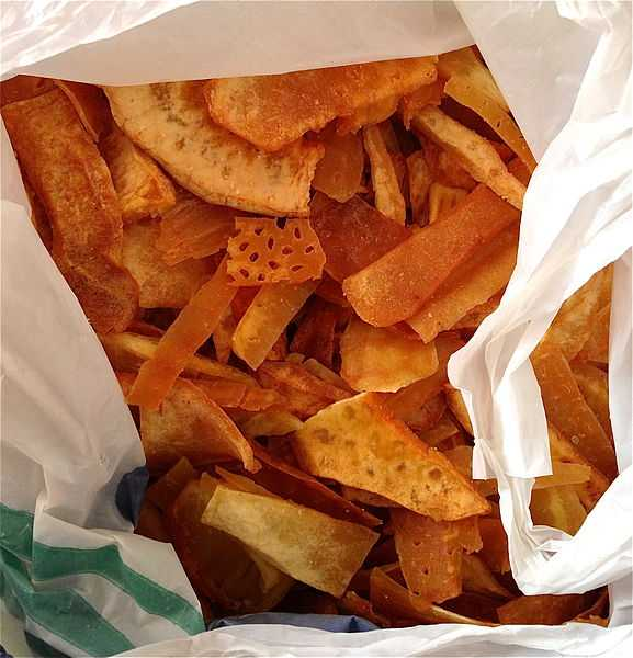 A bag filled with delicious breadfruit chips