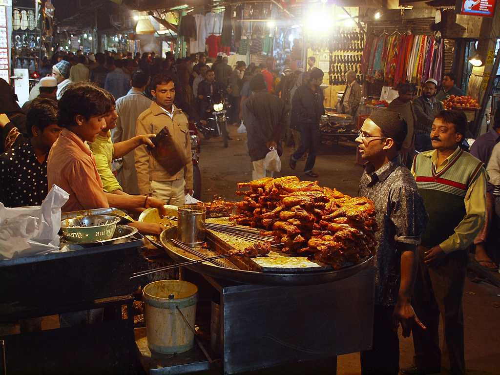 Street Food in Delhi at Night