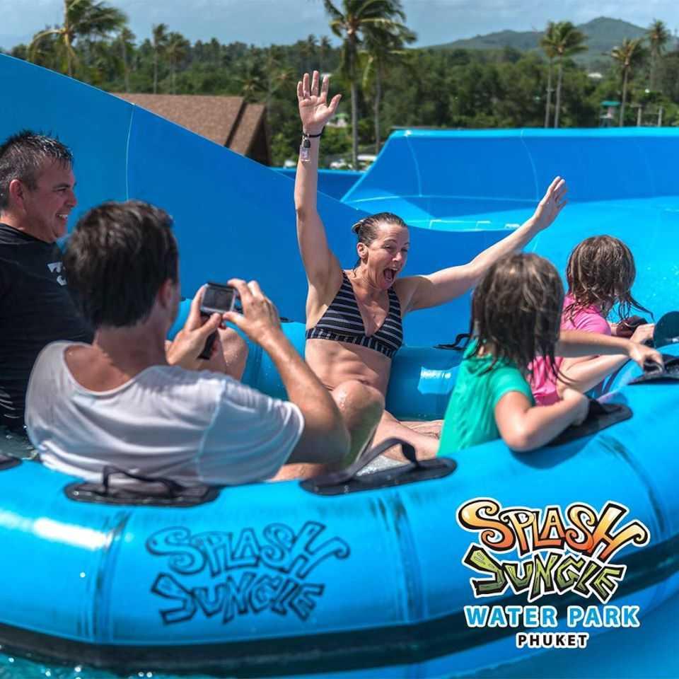 Family Raft Ride at Splash Jungle Water Park, Phuket