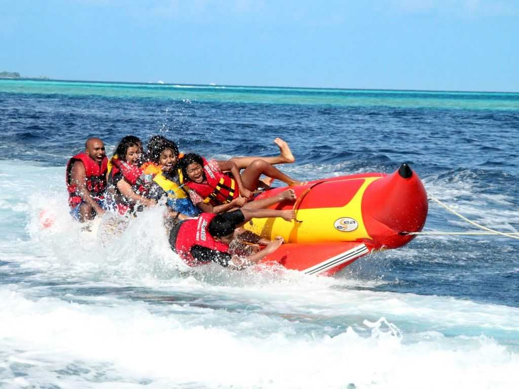 Banana boating in Maldives