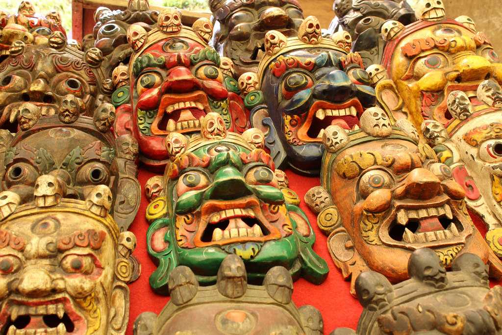 Bhutanese Wooden Masks, Weekend Market Thimphu