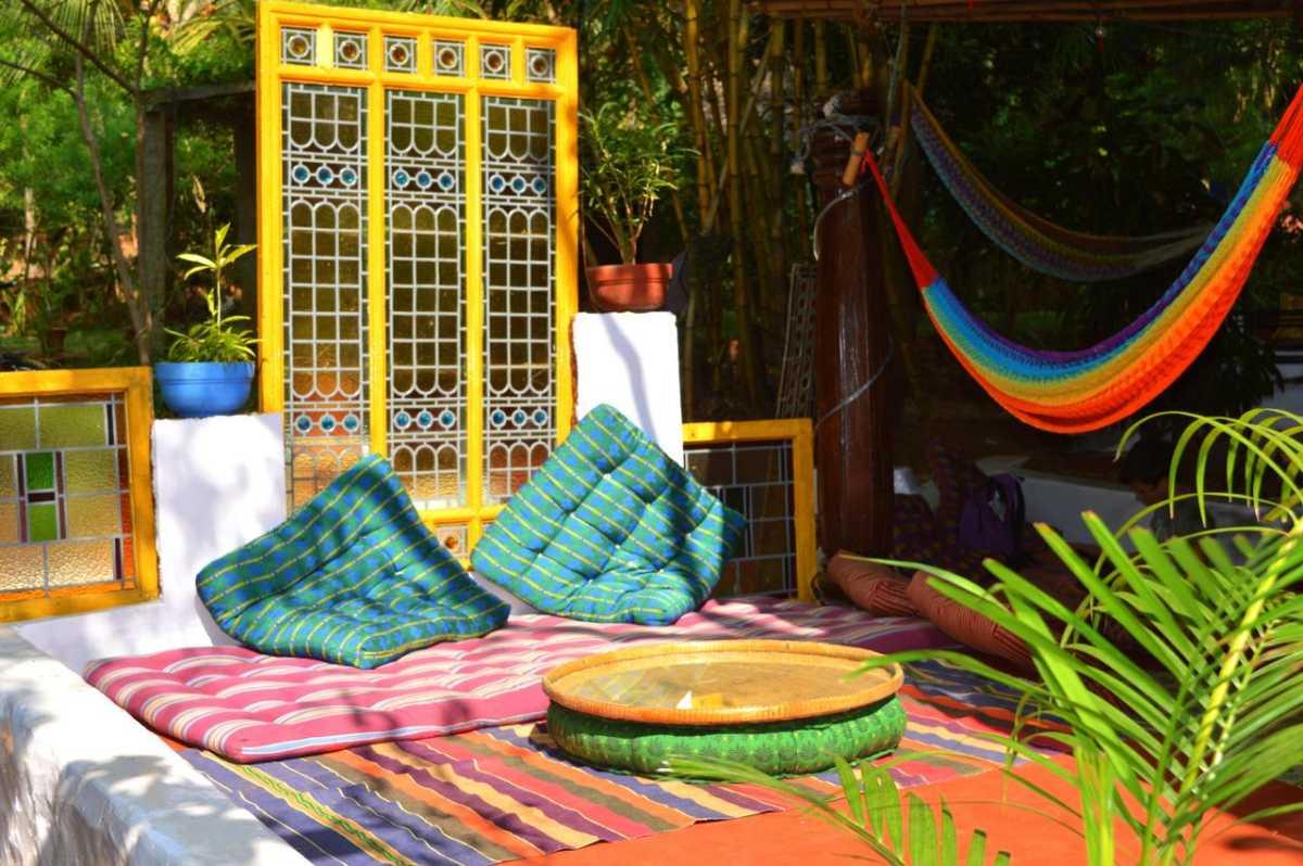Outdoor seating at Namaste Yoga Farm