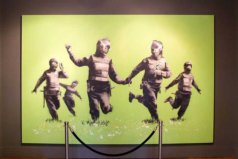 Bansky's iconic piece 'Battle of the Beanfield' at the Moco Museum, Amsterdam