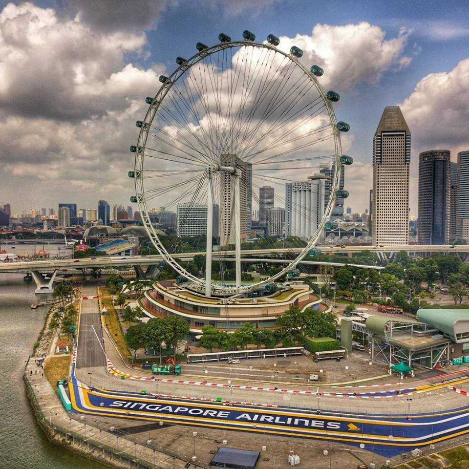 Aerial view of Singapore Flyer