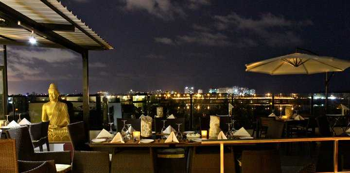 The waterfront seating at Azzuri Bay in Chennai
