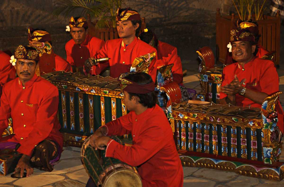 Balinese Musicians performing the Traditional Music Gamelan
