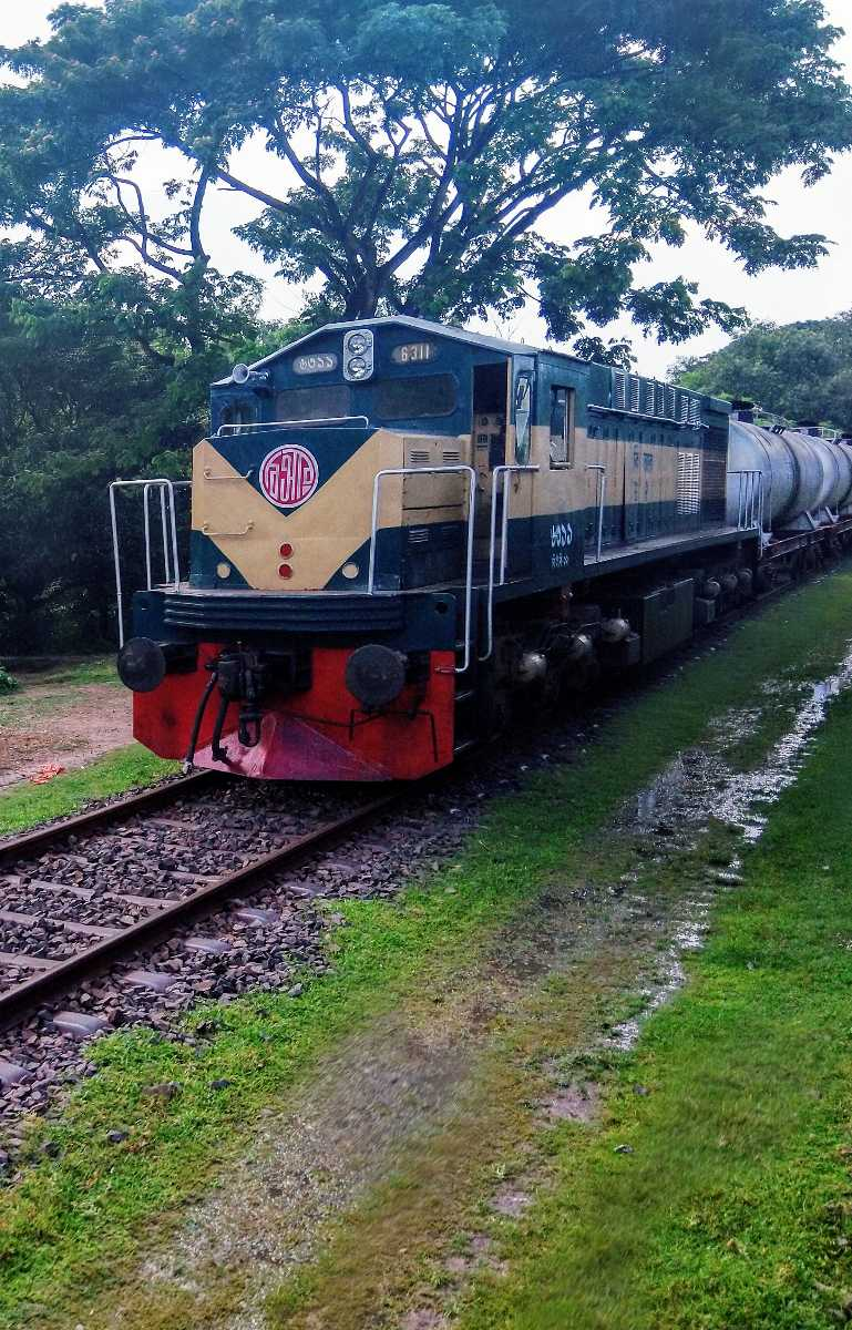 A traditional train engine of a Bangladeshi train