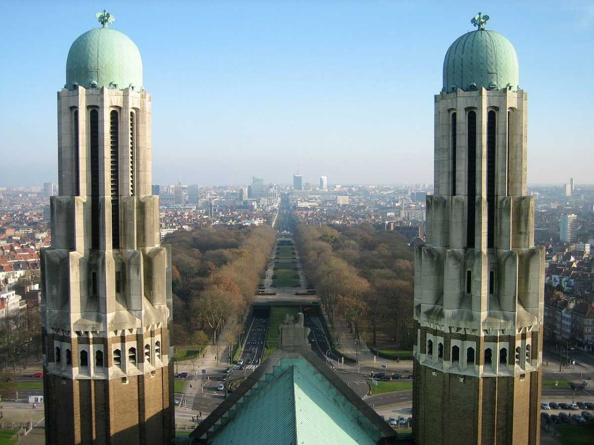 two towers, basilica of the sacred heart, brussels