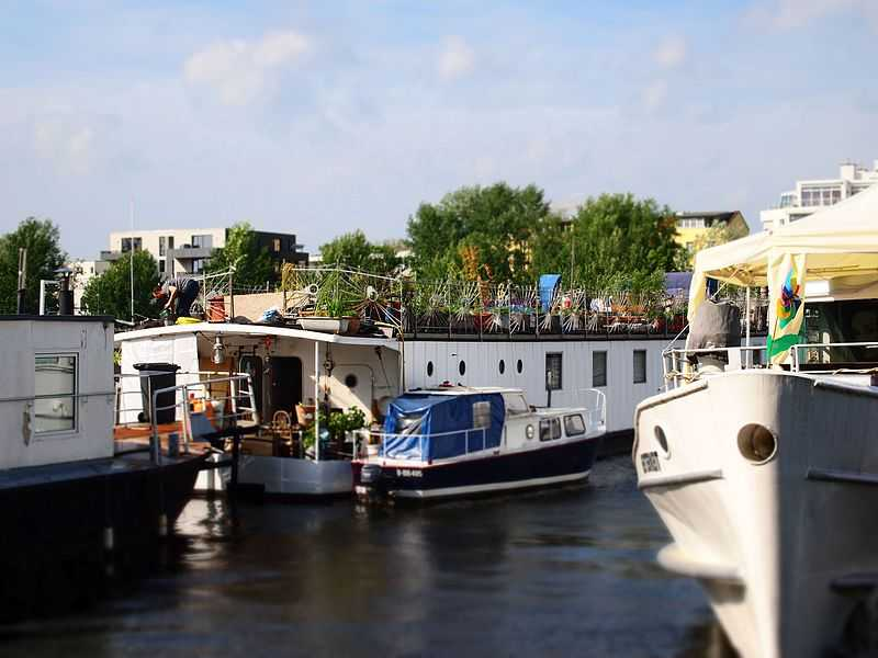 Boats available to hire in River Spree at Treptower park, Berlin