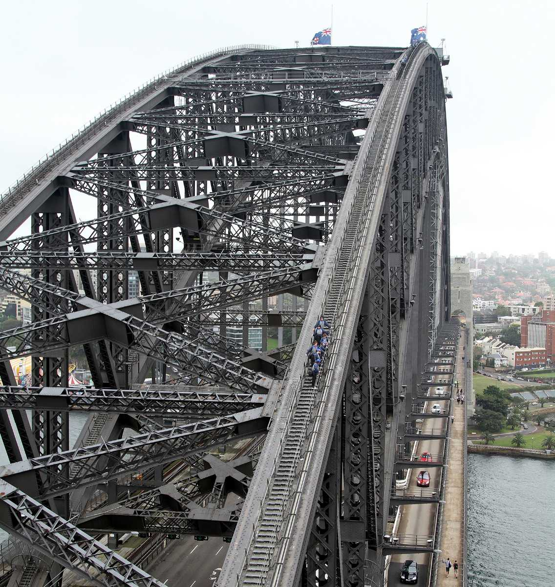 Tourists climbing the Sydney Harbour Bridge