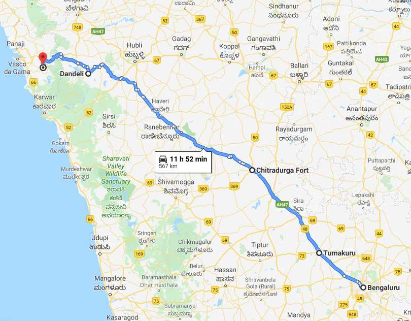 Bangalore to Goa Route 1