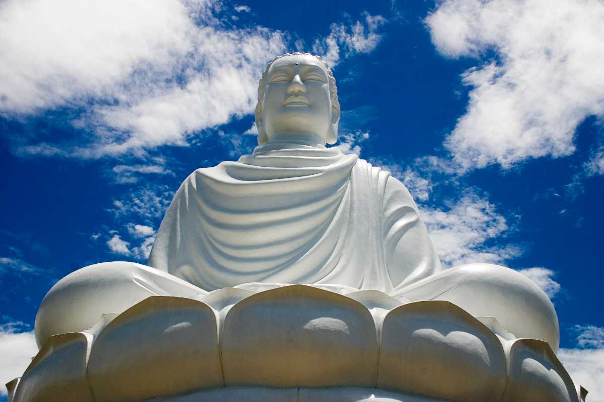 White Buddha Statue in Long Son Pagoda Temple, Religion in Vietnam
