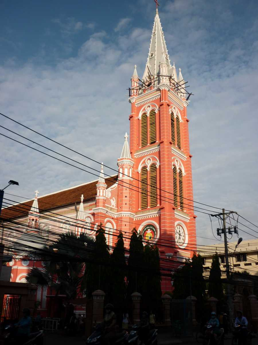 Tan Dinh Church in Ho Chi Minh City is a good example of French Architecture in Vietnam