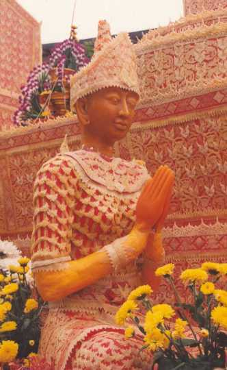 A figure on one of the floats at the Ubon Ratchathani Candle Festival