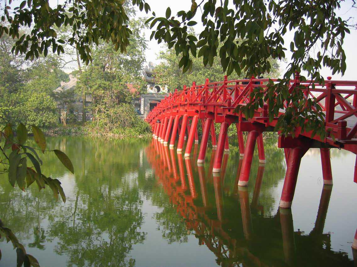 The Huc Bridge Leading to the Ngoc Son Temple in Hoan Kiem Lake