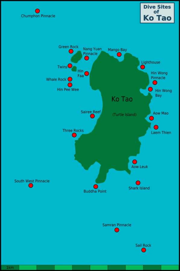 Map of dive sites Koh Tao, Dive Sites Near Koh Tao