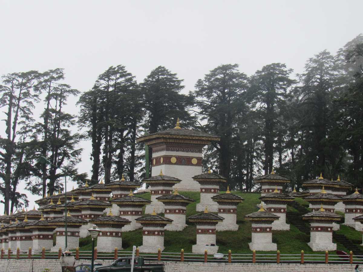 Chortens at Dochula Pass Bhutan