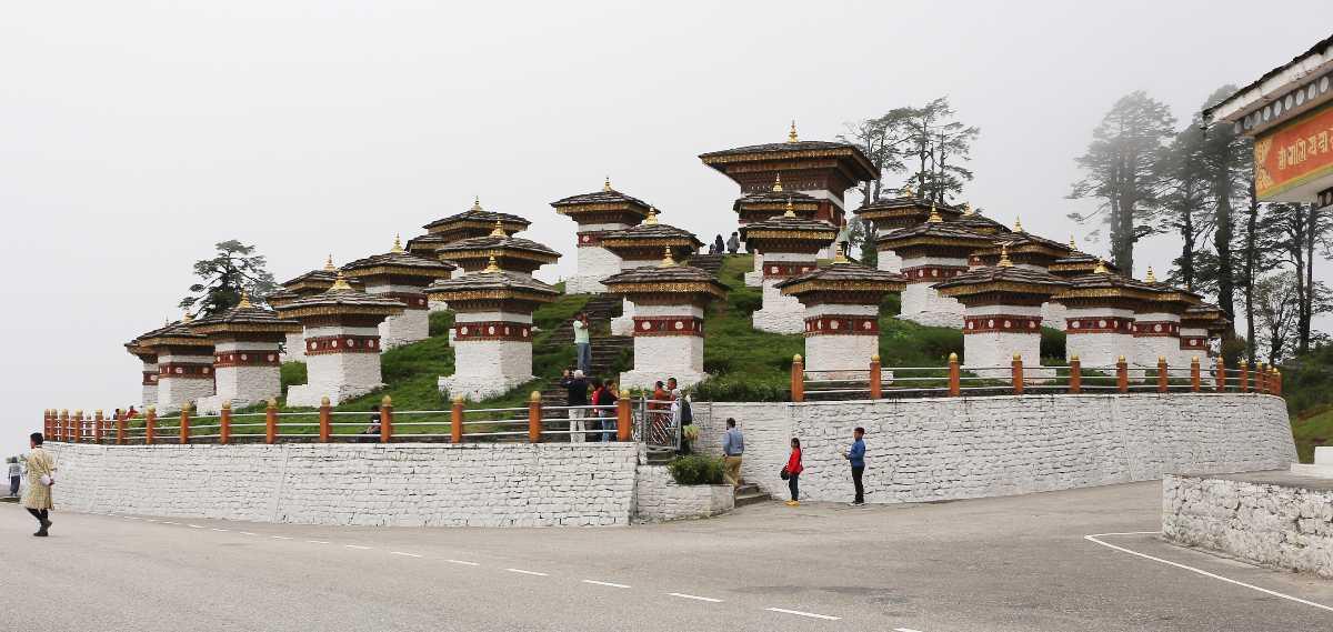 108 Chortens at Dochula Pass Bhutan