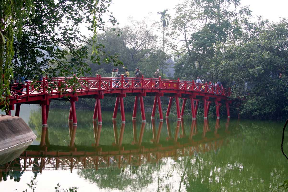 Cau The Huc is the Red Bridge of Hanoi, an Icon of the City