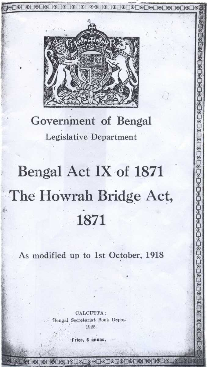 The Howrah Bridge Act, 1871, History of Howrah Bridge