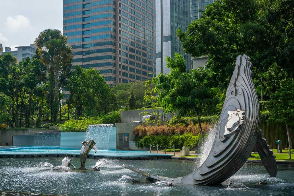 Ornate fountains at KLCC Park