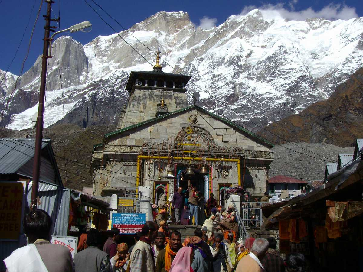Kedarnath temple and the Himalayas