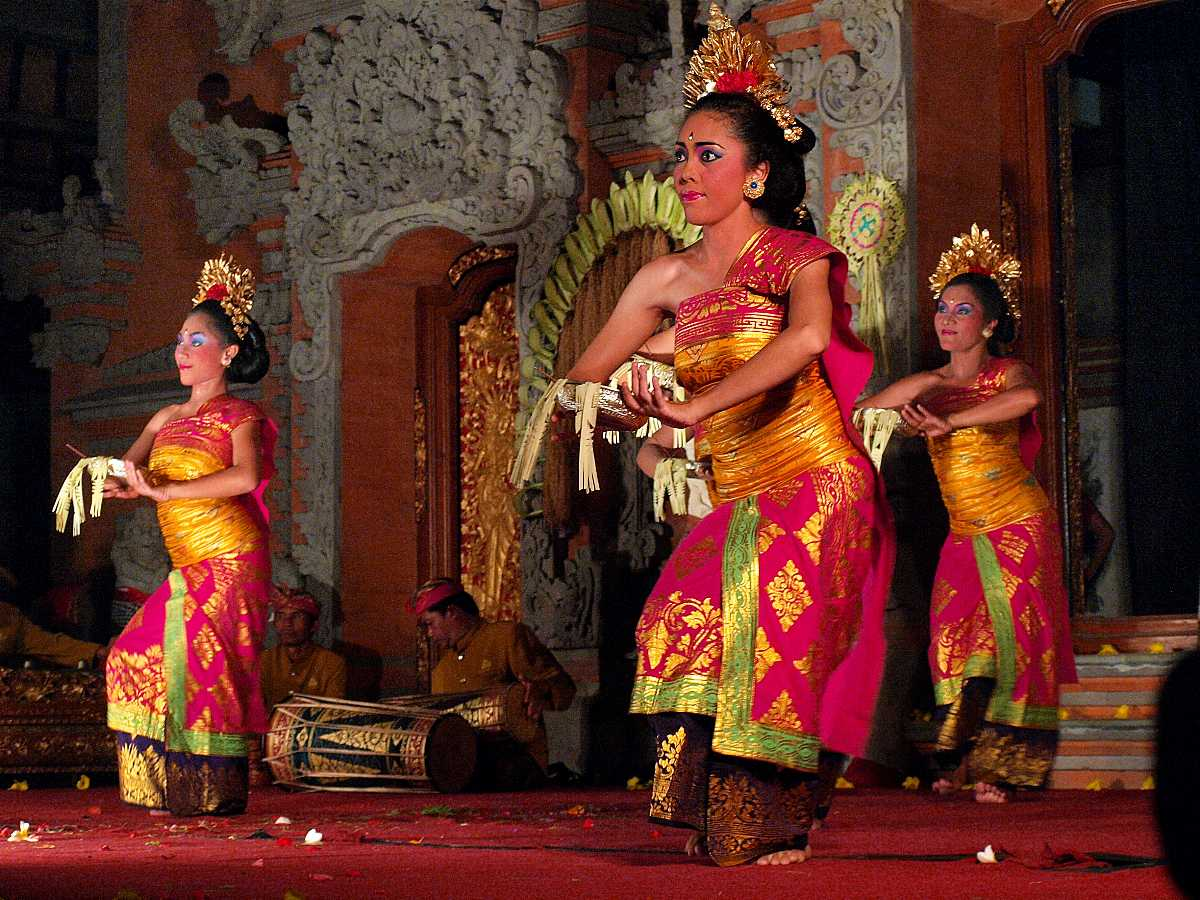 Balinese Dancers Performing Legong Dance