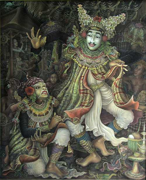Painting in Bali describing the Cultural Mask Dancer