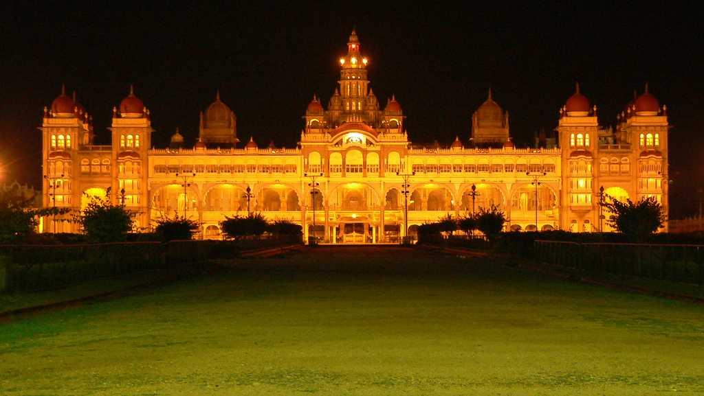 Mysore Palace at night during Dasara