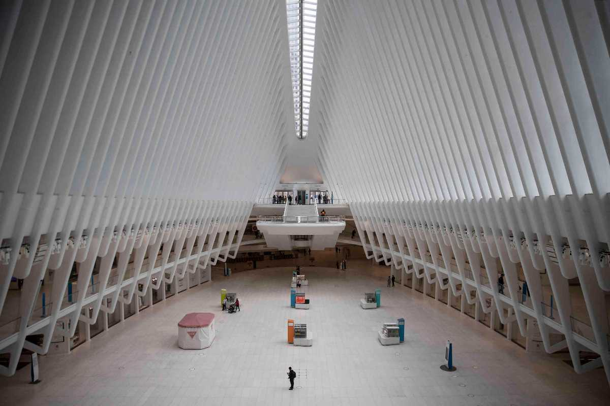 A major transit hub, the Oculus, in a city no longer on the move.