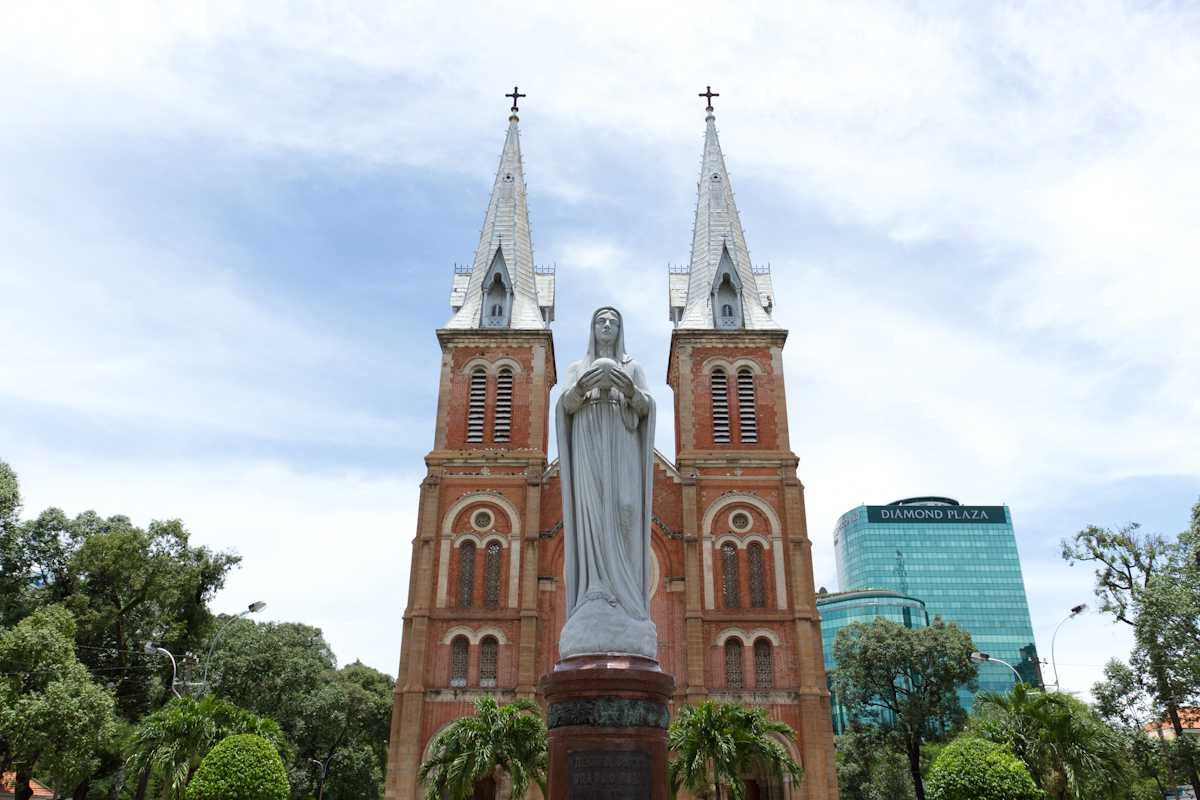 Virgin Mary Statue in Front of Notre Dame Cathedral Ho Chi Minh City