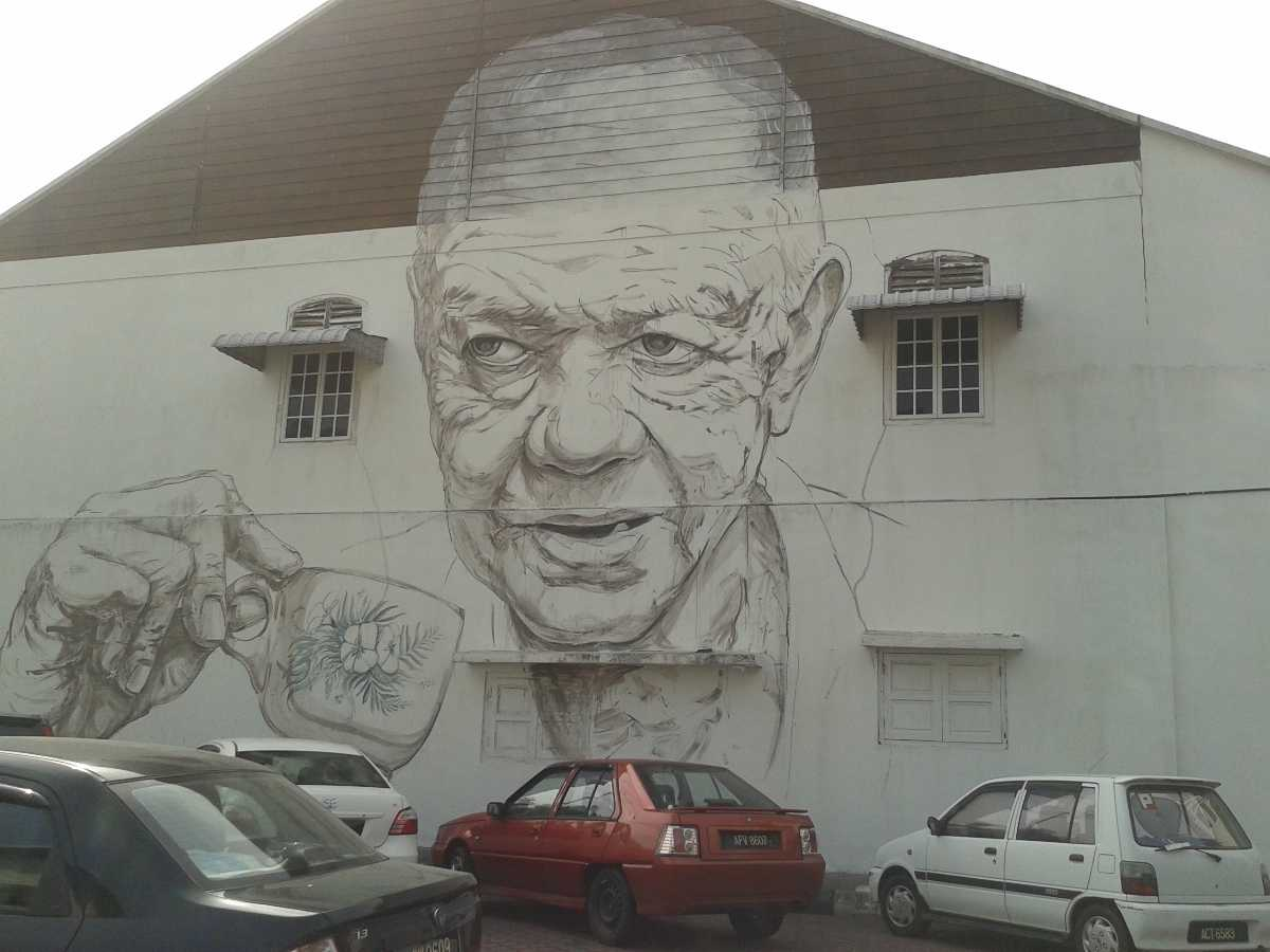 An Old Uncle with a coffee cup mural, Art of Old Town Ipoh