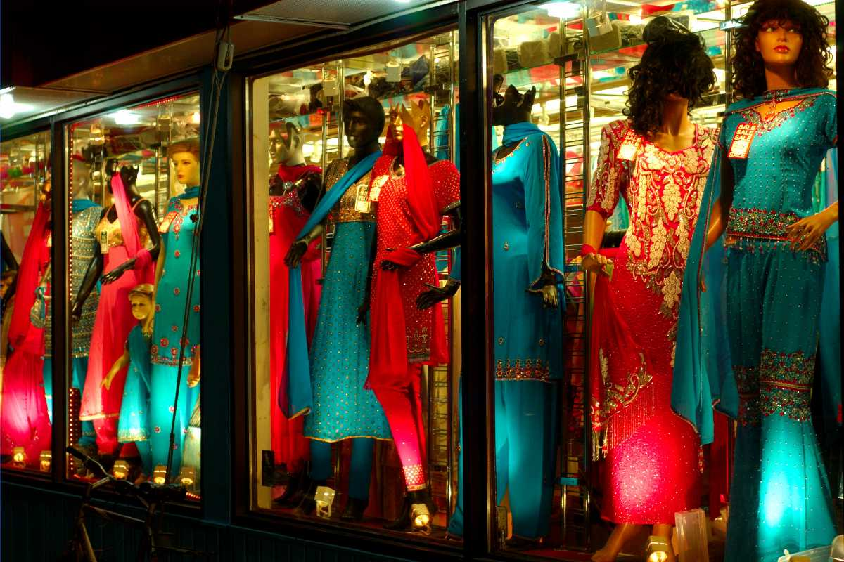 A display of vibrant clothing available at the mall
