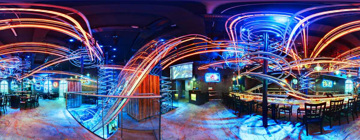 rollercoaster restaurant, neon lights, prater places to eat