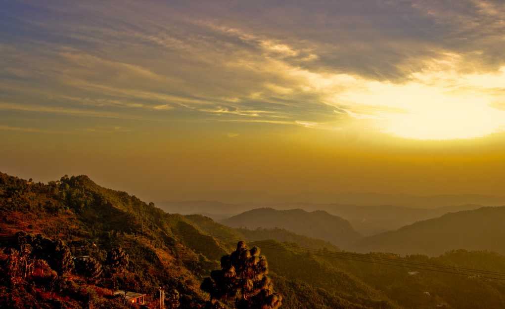 Solan, sunset in monsoon season