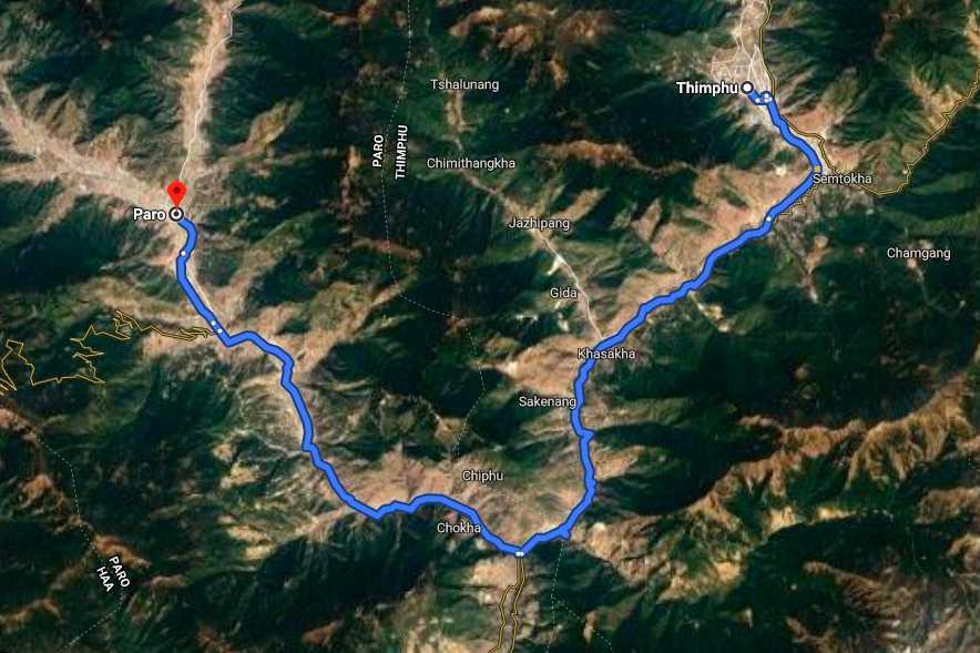 Thimphu to paro route