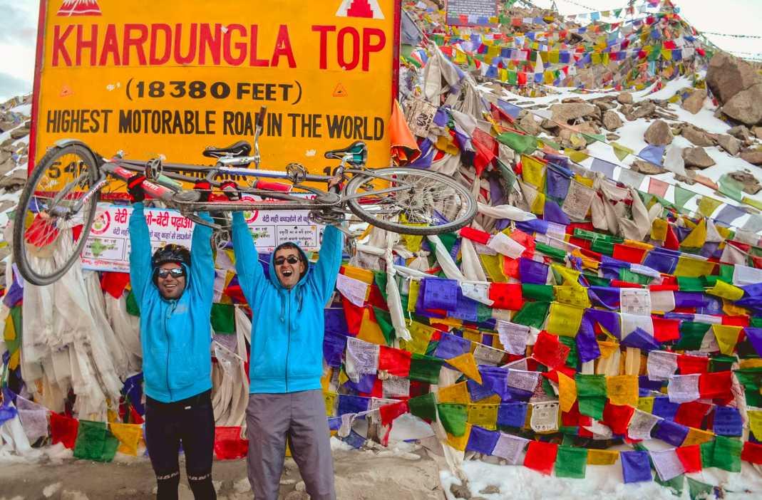 Divyanshu Ganatara with a friend atop Khardungla Top